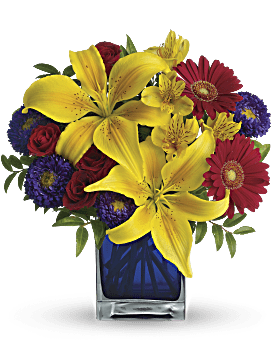 Blue Caribbean Bouquet | Mixed Bouquets | Same Day Flower Delivery | Teleflora