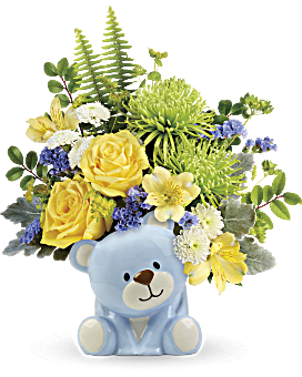 Joyful Blue Bear Bouquet | Mixed Bouquets | Same Day Flower Delivery | Teleflora